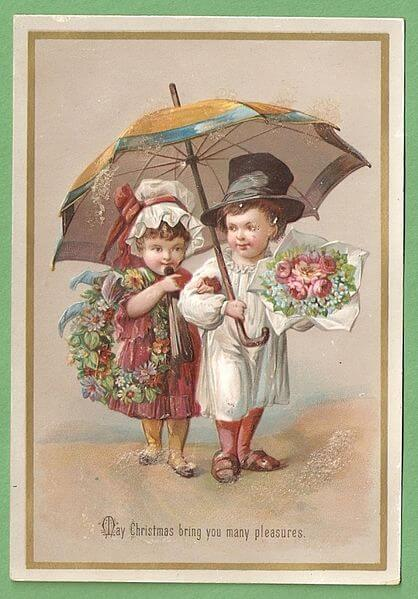 vintage card showing children at the beach