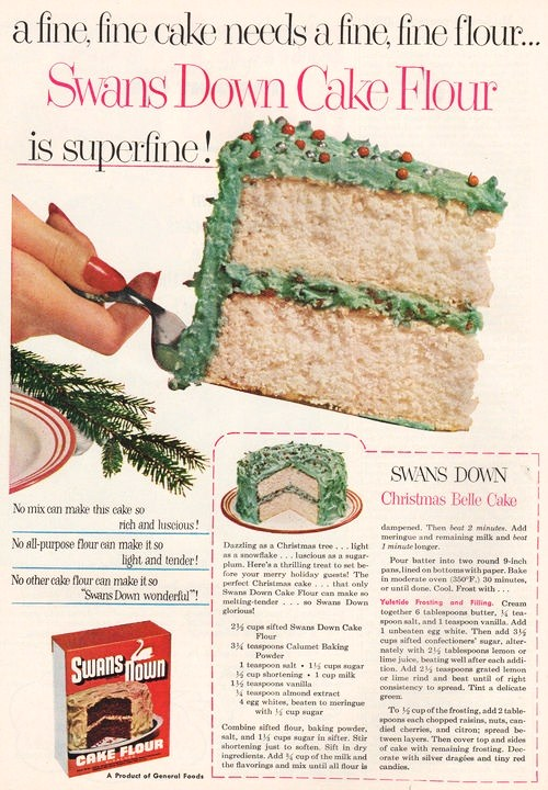 Swans Down ad featuring a Christmas cake