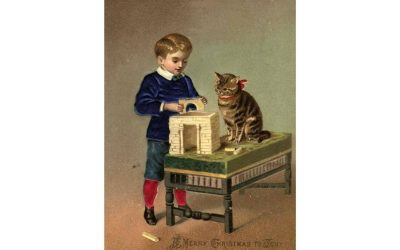 A cute painting of a boy and his suspicious looking cat
