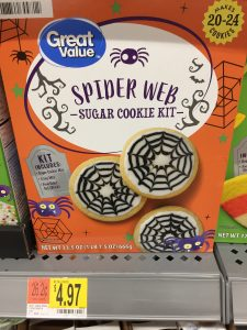 box of spider-web decorated cookie mix on the Walmart shelf