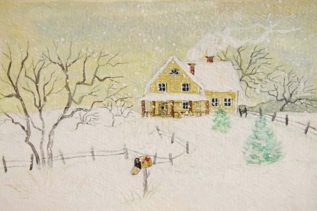 Winter painting of house with mailbox