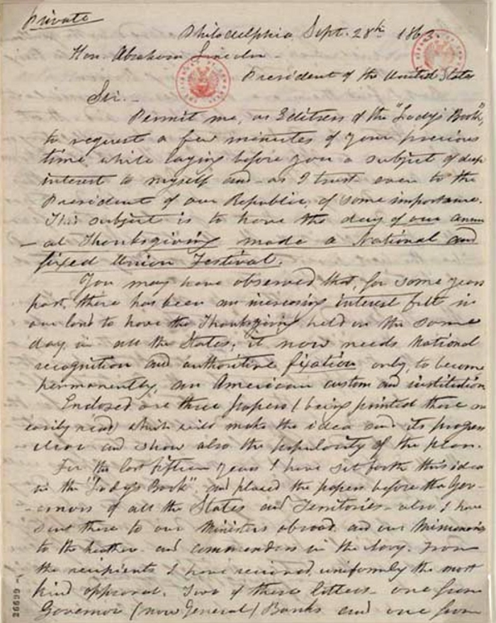 letter from Sarah Hale to President Abraham Lincoln
