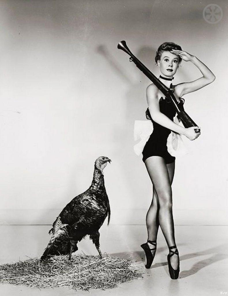 Vera Ellen and a turkey