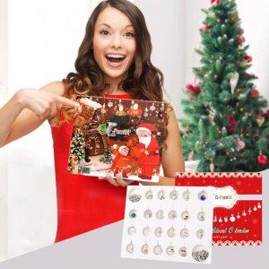 Woman with Christmas countdown Advent calendar