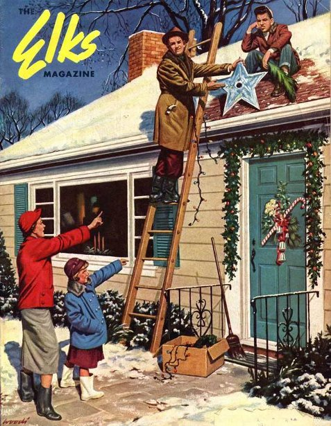 painting of family decorating their house for Christmas