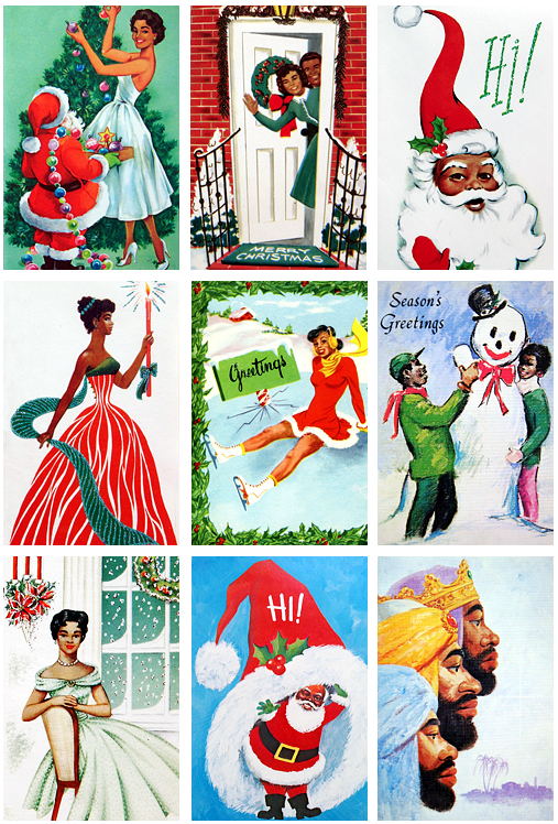 collage of vintage Christmas cards featuring African Americans