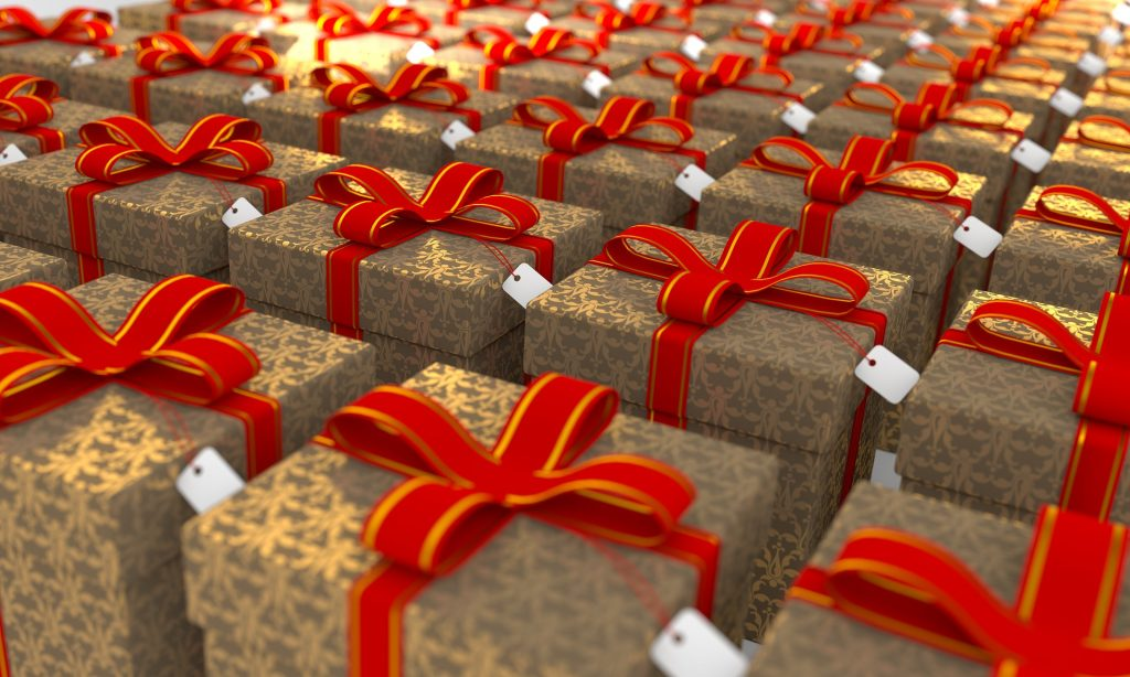 brown boxes with red ribbons fill the frame