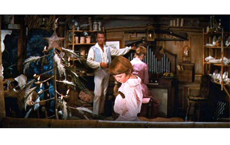 still from 1960 film Swiss Family Robinson showing the family Christmas tree