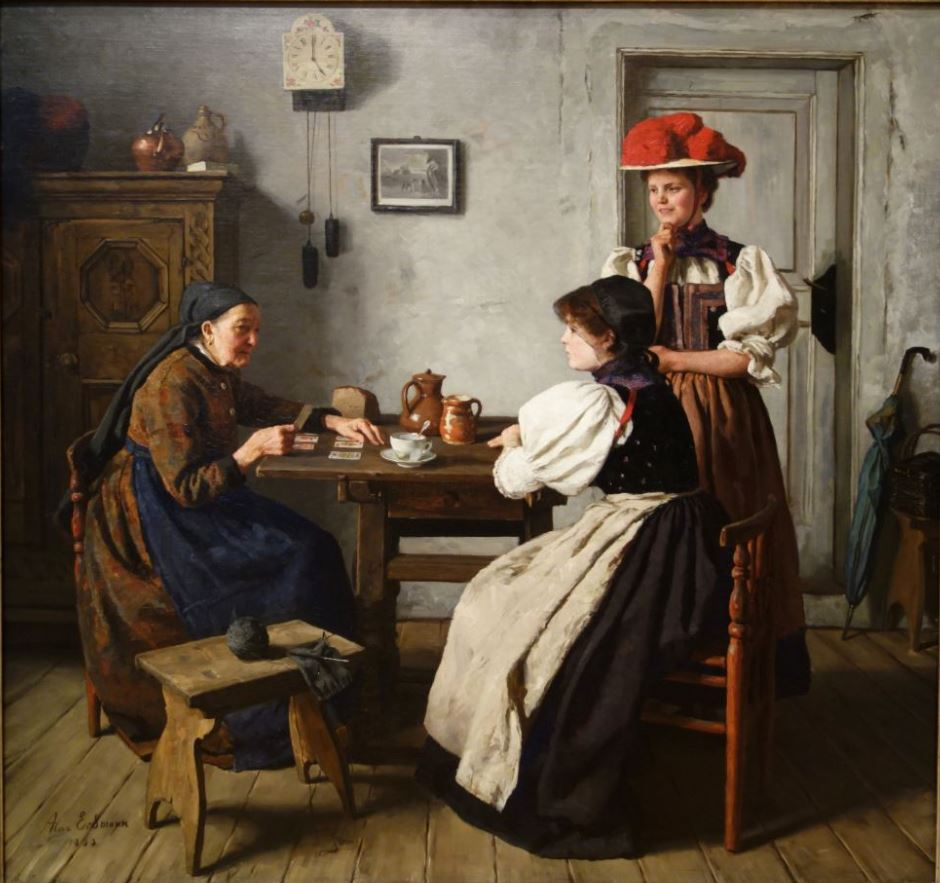 1900-era painting of 2 woman getting their cards read by a fortune teller