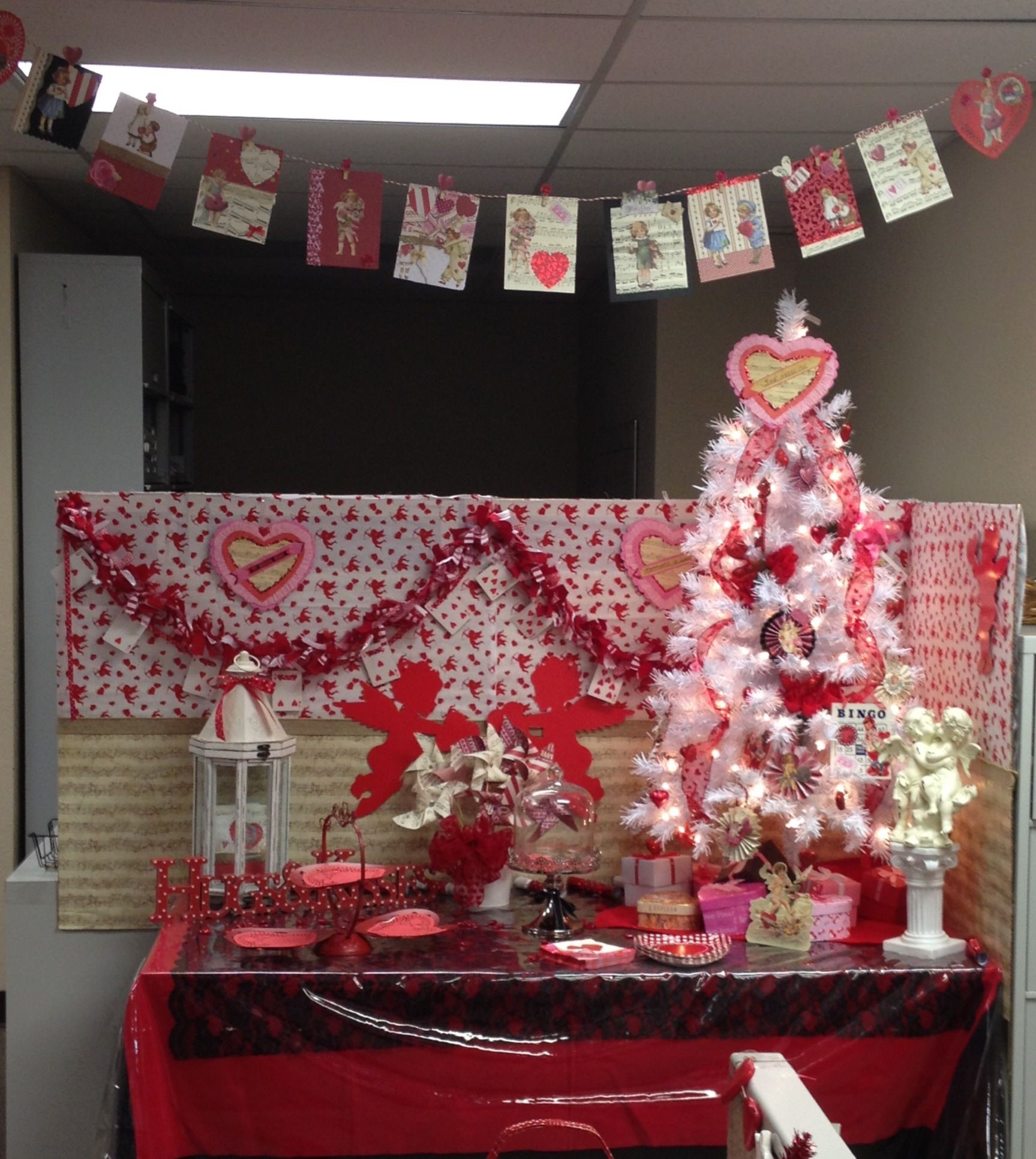 Valentine decorations in an office