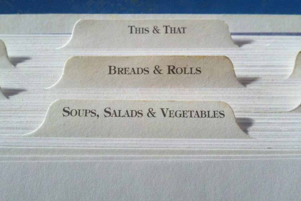 File folders with recipes
