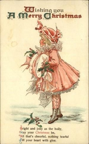 vintage Christmas card featuring little girl in a pink dress