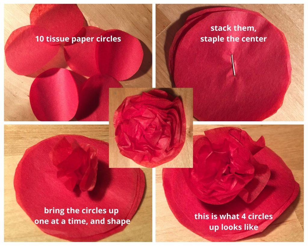 Tutorial for tissue paper flowers