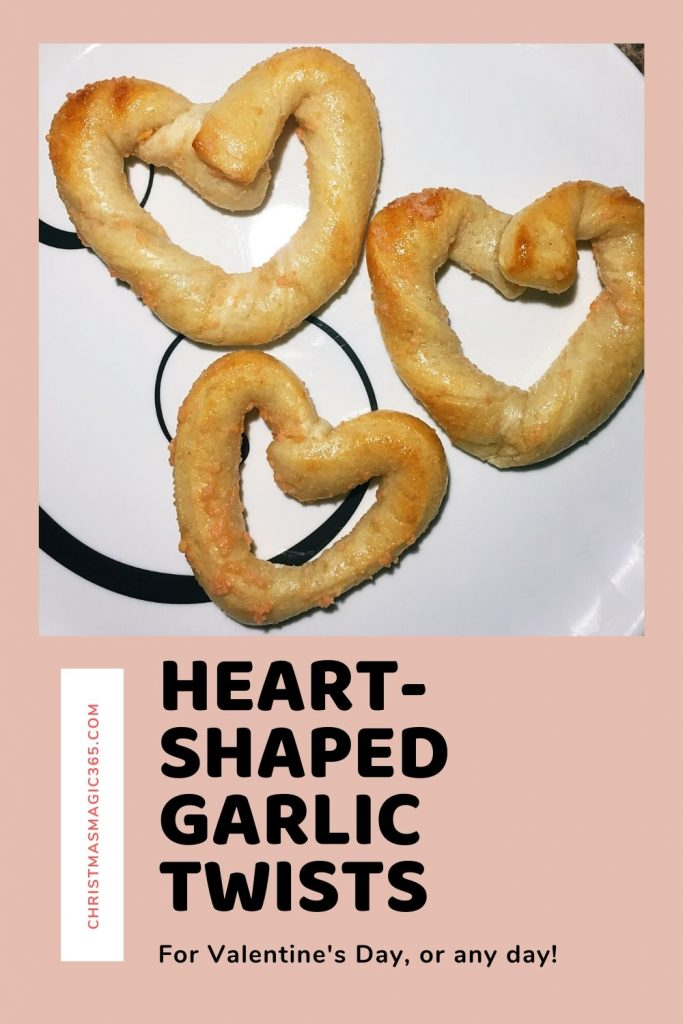 Heart-shaped garlic bread