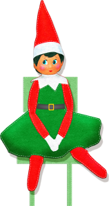 Elf on the shelf in a green dress