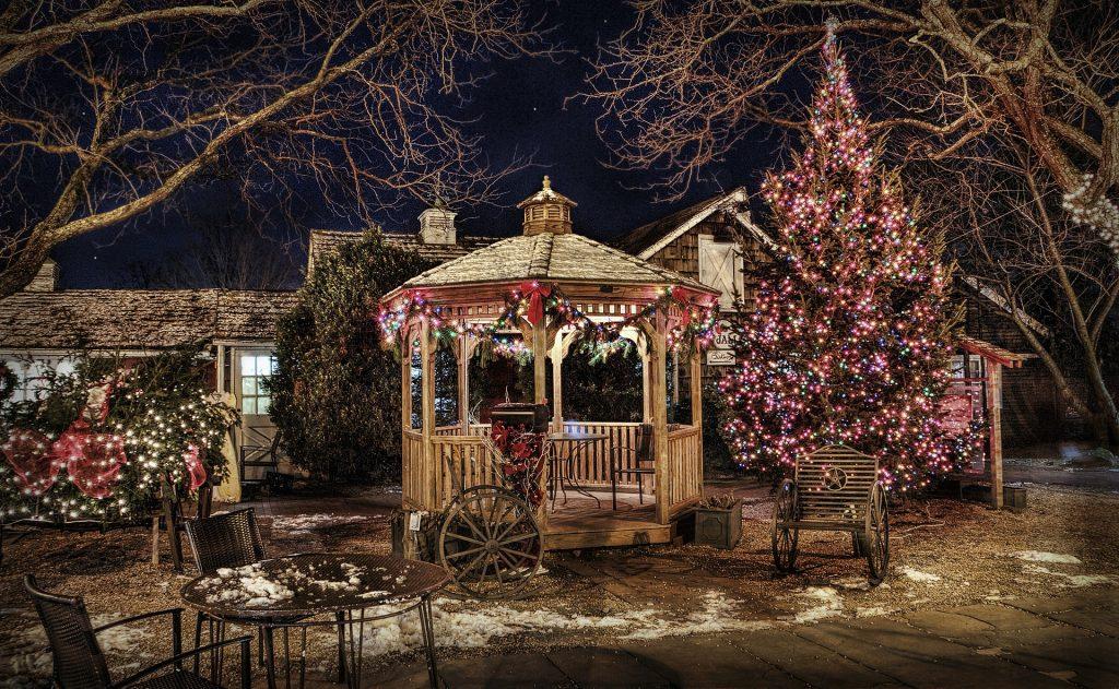 historic gazebo decorated for Christmas