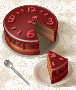 Chocolate cake with a clock face frosted on it