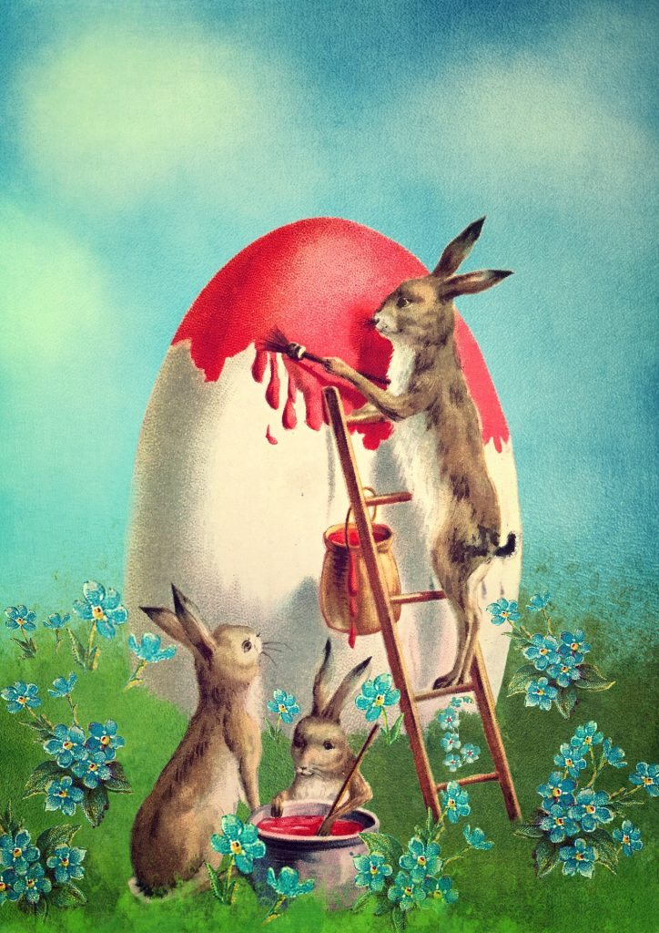 Painting of rabbits painting an oversized egg