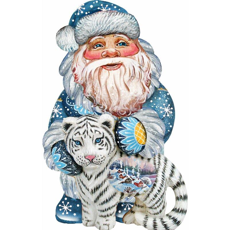 ornament of Santa with a tiger