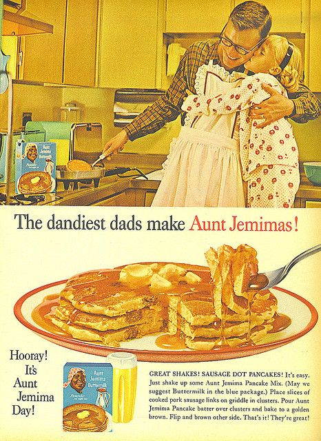 Aunt Jemima pancake ad featuring a child hugging father